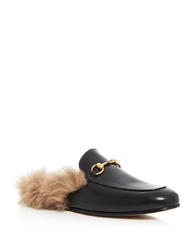 Gucci - Men's Princetown Leather and Lamb Fur Slippers