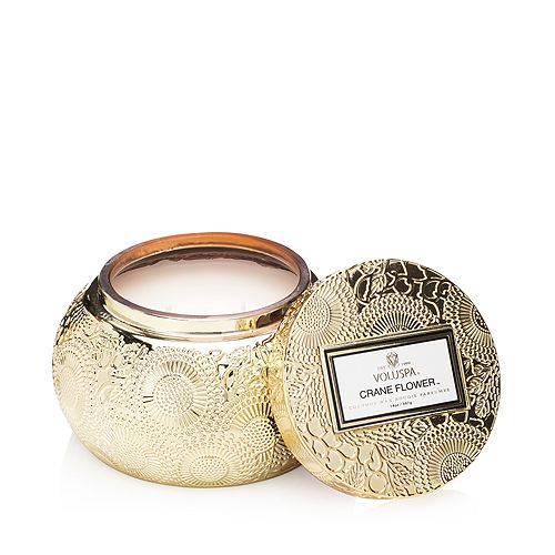Voluspa - Japonica Crane Flower Embossed Glass Chawan Bowl Candle