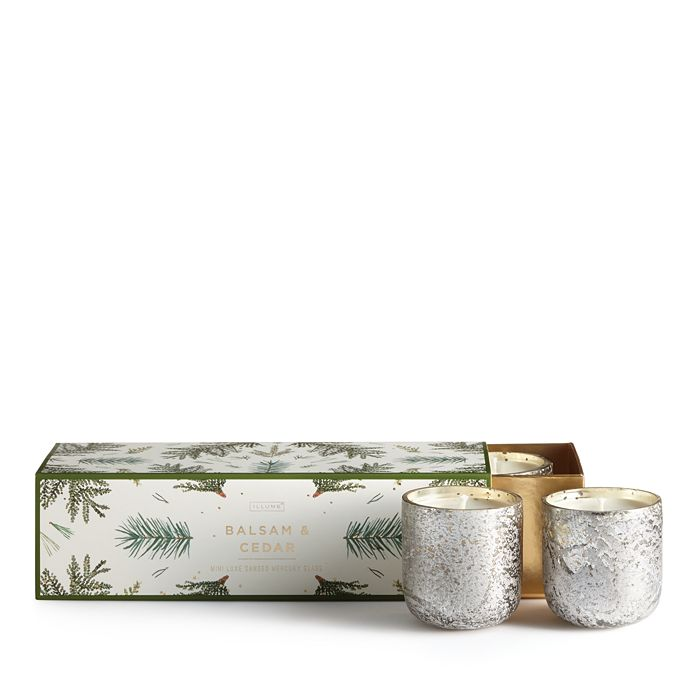 Illume - Balsam & Cedar Mini 3-Piece Mercury Candle Set