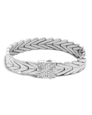 Modern Chain Medium Bracelet With Diamond Pave Clasp, Size M, Silver/Diamond