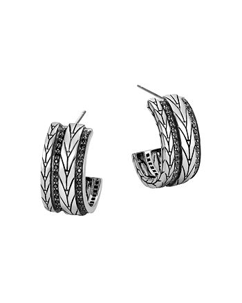 JOHN HARDY - Sterling Silver Modern Chain Small Hoop Earrings with Black Sapphire