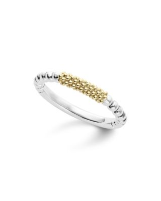 Caviar Icon 18K Gold And Sterling Silver Bead Bar Stacking Ring in Silver/ Gold