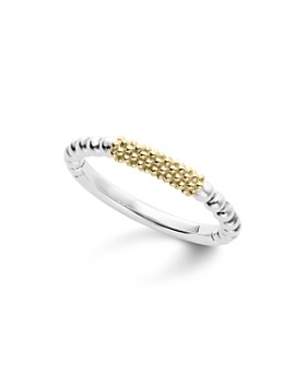 LAGOS - Caviar Icon 18K Gold and Sterling Silver Bead Bar Stacking Ring