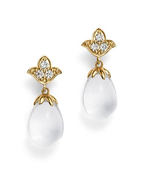 Temple St. Clair - 18K Yellow Gold Lotus Drop Earrings with Rock Crystal and Diamonds