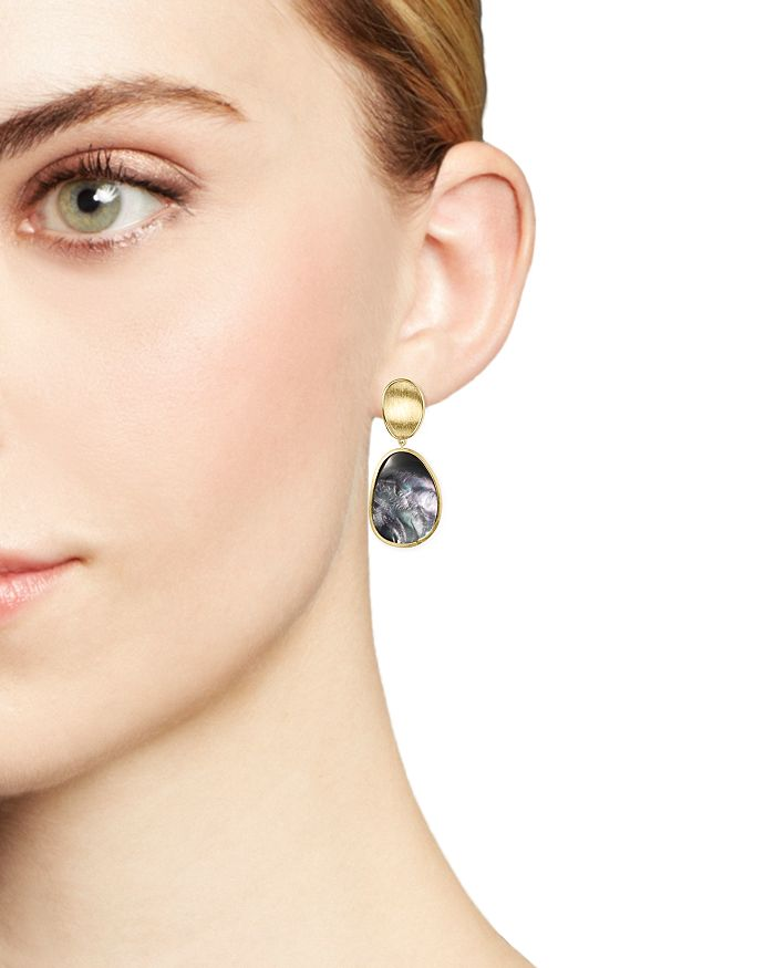 30828e722a71 Marco Bicego - 18K Yellow Gold Lunaria Black Mother-Of-Pearl Double Drop  Earrings