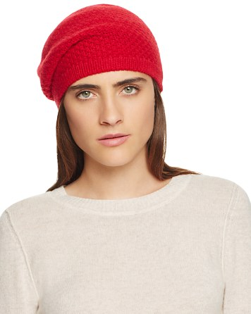 C by Bloomingdale's Waffle Knit Cashmere Beret - 100% Exclusive