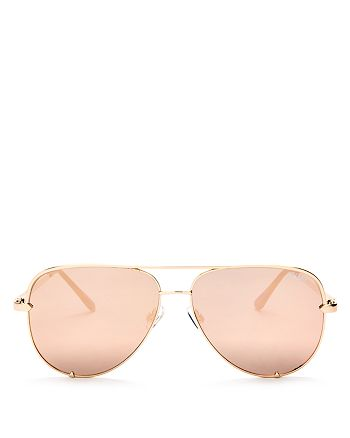 Quay - Women's High Key Mirrored Brow Bar Aviator Sunglasses, 56mm