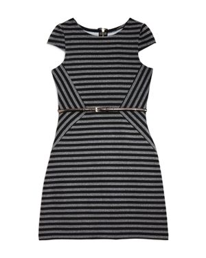 Us Angels Girls' Asymmetric Striped Dress - Big Kid