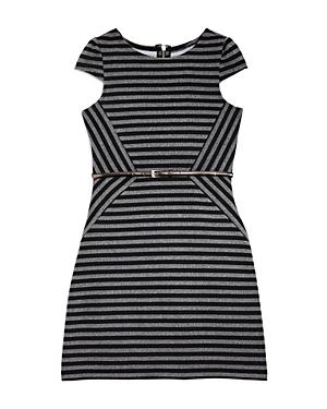 Us Angels Girls' Asymmetric Striped Dress - Big Kid