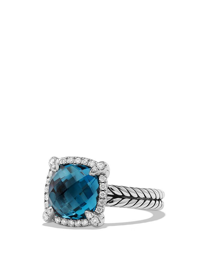 David Yurman - Sterling Silver Châtelaine Pavé Bezel Ring with Diamonds & Gemstones, 9-11mm