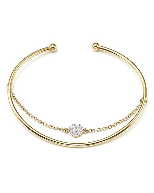 Bloomingdale's - Diamond Pavé Disc Bangle Bracelet with Chain in 14K Yellow Gold, .09 ct. t.w.- 100% Exclusive