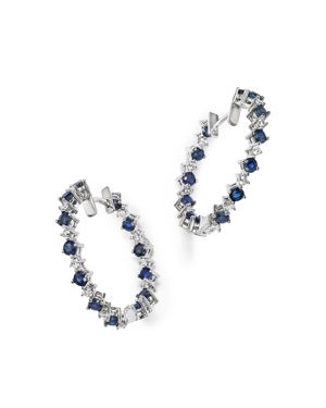 Diamond and Sapphire Inside-Out Hoop Earrings in 14K White Gold - 100% Exclusive