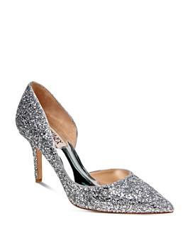 Badgley Mischka - Women's Daisy Glitter Half d'Orsay Pointed Toe Pumps