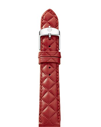 MICHELE - Quilted Leather Watch Strap, 16-18mm