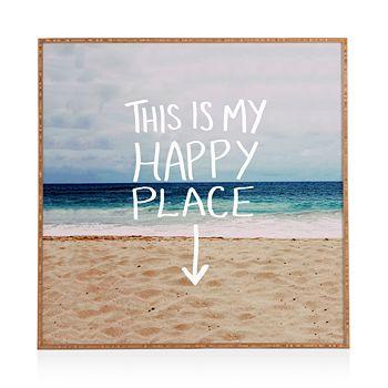"Deny Designs - Happy Place X Beach Framed Print, 20"" x 20"""