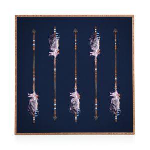 Deny Native Blue Arrows Framed Print, 12 x 12