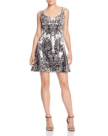 KAREN MILLEN - Printed Velvet Fit-and-Flare Dress
