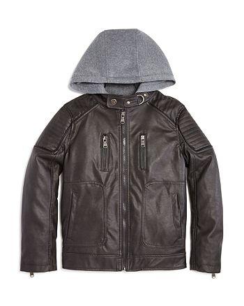 0f1aff2fe5de Urban Republic Boys  Faux Leather Hooded Jacket - Little Kid ...