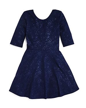 Aqua Girls Flared Rose Jacquard Knit Dress Sizes Sxl  100 Exclusive