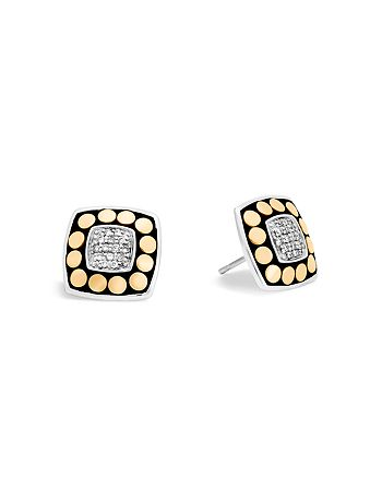 JOHN HARDY - 18K Yellow Gold and Sterling Silver Dot Stud Earrings with Diamonds