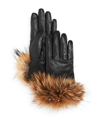 Echo - Leather Gloves with Asiatic Raccoon Fur Cuff