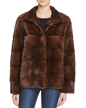 Maximilian Furs Sheep Leather Trim Mink Fur Coat