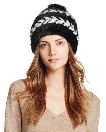 93096d61c Maximilian Furs Fox Fur Pom-Pom Knit Mink Fur Hat - 100% Exclusive ...