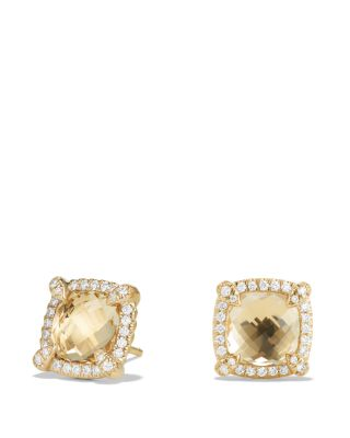 Châtelaine Pavé Bezel Stud Earrings with Champagne Citrine and Diamonds in 18K Gold