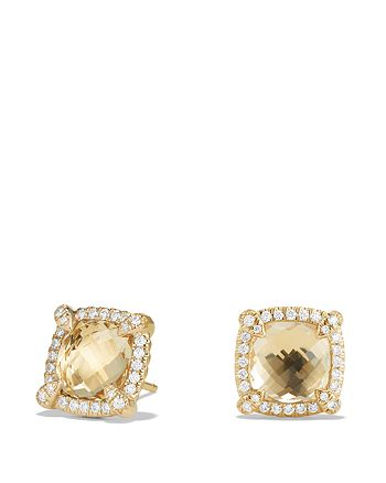 David Yurman - Châtelaine Pavé Bezel Stud Earrings with Champagne Citrine and Diamonds in 18K Gold