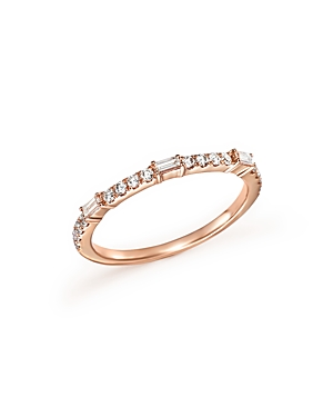 Diamond Round and Baguette Stackable Band in 14K Rose Gold, .30 ct. t.w. - 100% Exclusive