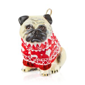 Joy to the World Pug Fawn in Nordic Sweater Ornament