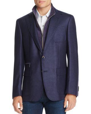 Downhill Wool-Cashmere Blazer With Warmer, Navy