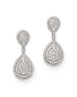 Diamond Cluster Teardrop Earrings in 14K White Gold, 1.50 ct. t.w. - 100% Exclusive