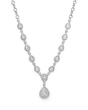 Diamond Cluster Teardrop Necklace in 14K White Gold, 3.0 ct. t.w. - 100% Exclusive