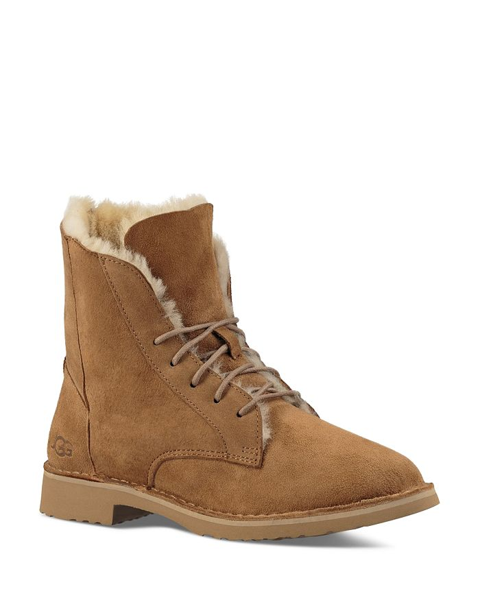 best value attractive price the best UGG® Quincy Leather and Sheepskin Lace Up Boots | Bloomingdale's