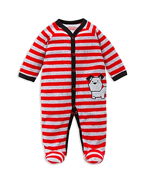 Offspring Infant Boys Dog Striped Velour Footie  Sizes 39 Months