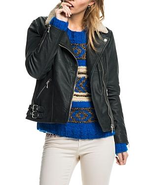 Scotch & Soda Sheepskin Collar Leather Moto Jacket