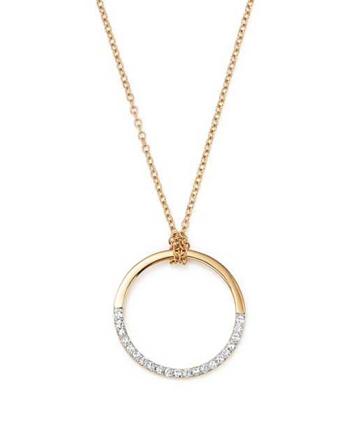 MATEO - 14K Yellow Gold Half Moon Pendant Necklace with Diamonds, 16""