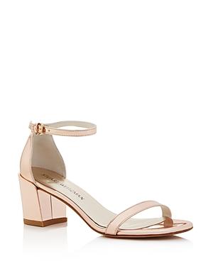 Stuart Weitzman Simple Metallic Leather Block Heel Sandals