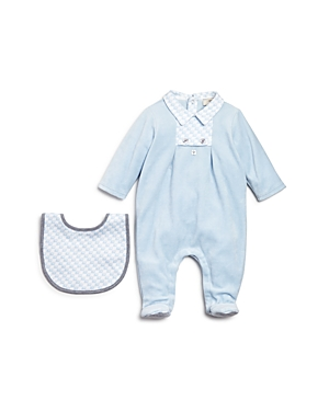 Armani Infant Boys Velour Footie  Bib Set  Sizes 39 Months