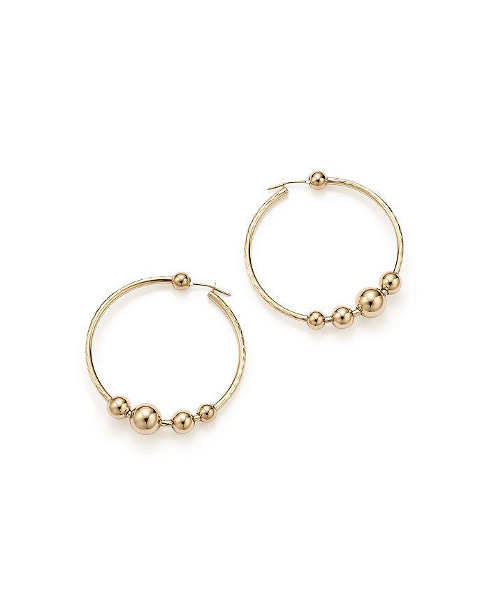 Bloomingdale's - 14K Yellow Gold Beaded Textured Hoop Earrings   - 100% Exclusive