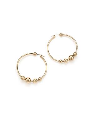 14K Yellow Gold Beaded Textured Hoop Earrings - 100% Exclusive