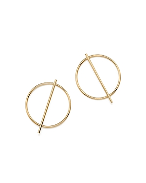 14K Yellow Gold Circle and Stick Earrings - 100% Exclusive