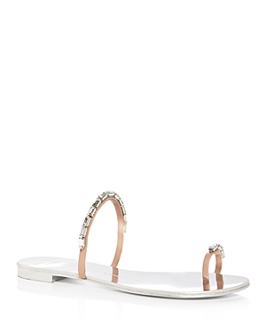 Giuseppe Zanotti Nuvorock Metallic Swarovski Crystal Toe Ring Slide Sandals