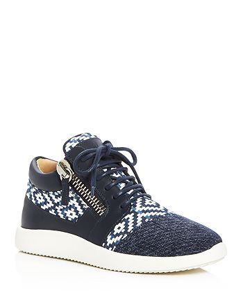 Giuseppe Zanotti - Women's Singleg Woven Denim Lace Up Sneakers