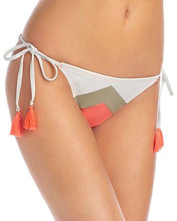 VINCE CAMUTO - Camellia Chevron Stripe String Side Tie Bikini Bottom
