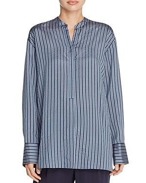 Vince Drop Shoulder Stripe Silk Tunic