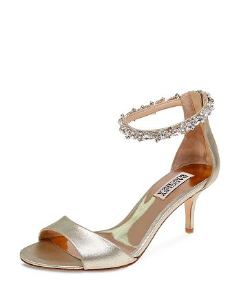Badgley Mischka - Women's Geranium Embellished Metallic Leather Ankle Strap Sandals