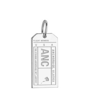 JET SET CANDY Anchorage, Alaska Anc Luggage Tag Charm in Silver