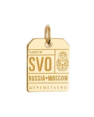 JET SET CANDY Moscow, Russia Svo Luggage Tag Charm in Gold